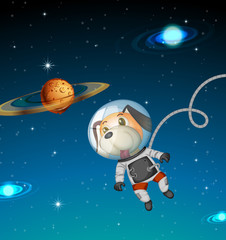 Dog astronaut exploring space