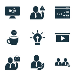 Teamwork icons set with add team, call employee, idea and other warning  elements. Isolated vector illustration teamwork icons.