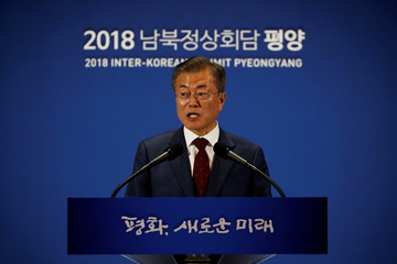 South Korean President Moon Jae-in speaks during a news conference in Seoul, South Korea