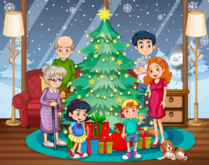 Family gathering on Christmas