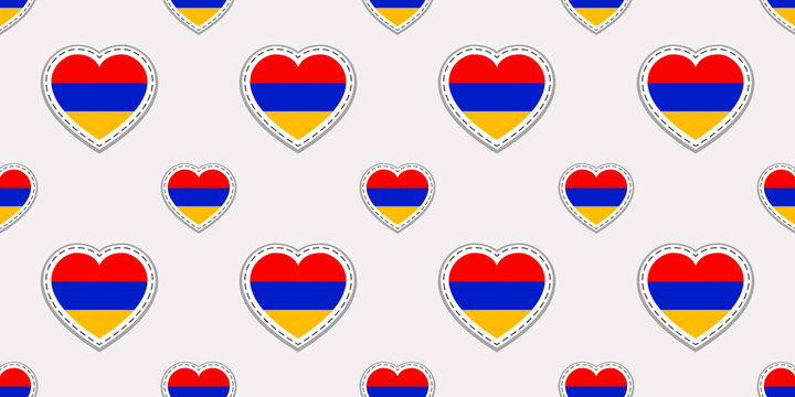 Armenia flag seamless pattern. Vector Armenian flags stickers. Love hearts symbols. Texture for language courses, sports pages, travel, school geographic, design element. Patriotic wallpaper