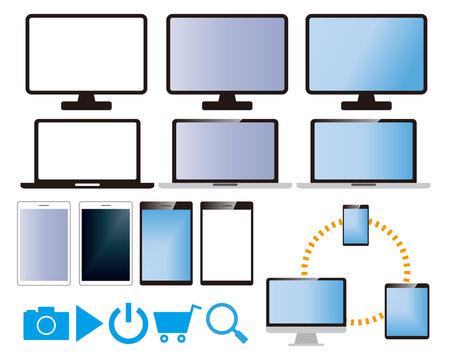 コンピューター パソコン スマートフォン タブレット アイコン