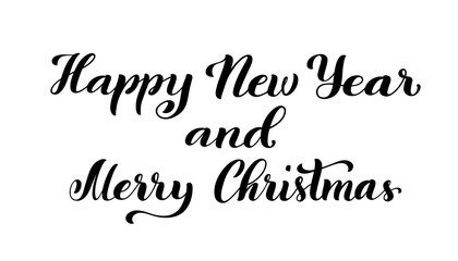 Merry Christmas and happy new year. Modern calligraphy quote with handdrawn lettering. Vector illustration.