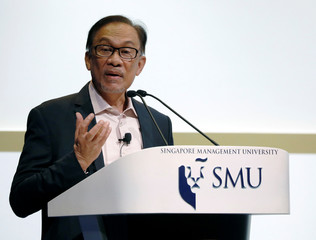 Malaysian politician Anwar Ibrahim speaks at Ho Rih Hwa Leadership Lecture in Singapore