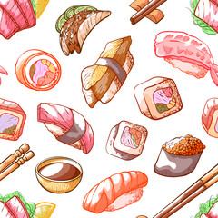 Sushi food seamless pattern on white background