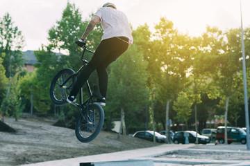 BMX Rider In Skatepark training outdoor
