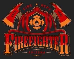 Vintage firefighting colorful emblem