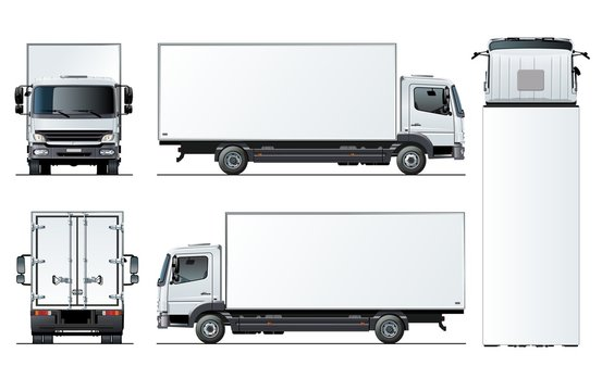 Vector truck template isolated on white background