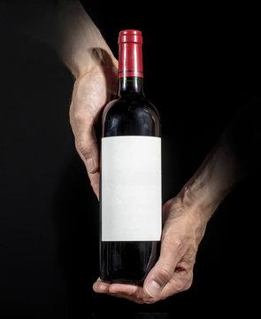 Wine bottle label design mockup