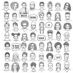 Set of fifty hand drawn diverse faces, black and white portraits of people of color, men and women of African, Asian, Arab and Latin American descent