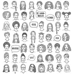 Set of fifty hand drawn female faces, diverse portraits of women of different ethnicities, black and white ink illustration