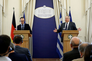 Greek Foreign Minister Nikos Kotzias meets his German counterpart Heiko Maas at the Foreign Ministry in Athens