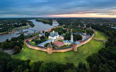 Aerial view of Veliky Novgorod kremlin at dusk, Russia