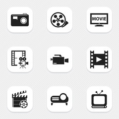 Set of 9 editable filming icons. Includes symbols such as retro television, movie, camcorder and more. Can be used for web, mobile, UI and infographic design.