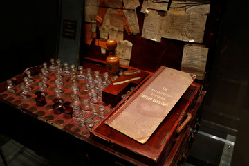 One of Tsar Nicholas II's travel pharmacy chests is seen at the exhibition, The Last Tsar: Blood and Revolution, at the Science Museum in London