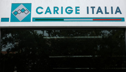 The logo of the Carige bank is seen in Rome