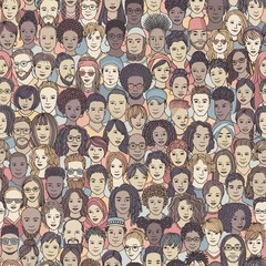 Diverse crowd of people - seamless pattern of 100 hand drawn faces of various ethnicities