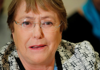 UN High Commissioner for Human Rights Bachelet attends attends an ACANU briefing in Geneva