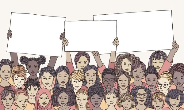 Diverse group of women holding empty signs