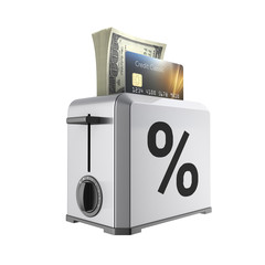 Modern concept of fast loans and payments Credit cards and stack of money american hundred dollar bills in the toaster with drawn percent isolated on white background 3d render without shadow