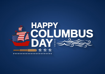 Happy Columbus Day banner with ship, telescope and waves. Vector illustration.