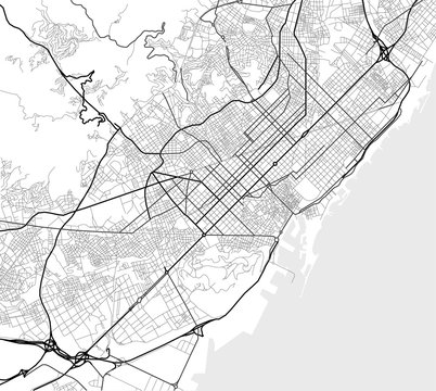 Vector city map of Barcelona in black and white