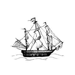 Sea ship. Hand drawn sketch doodle vector illustration.
