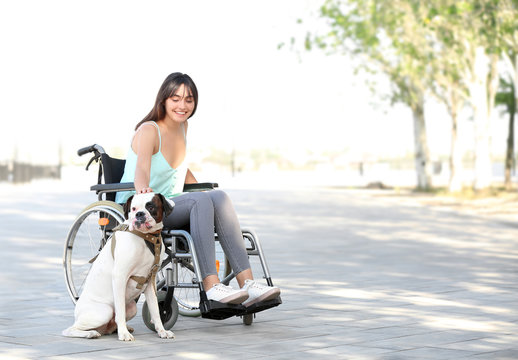 Young woman in wheelchair and her service dog outdoors