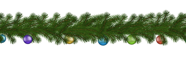 Green Christmas border of pine branch and ball, seamless vector isolated on white background. Xmas g