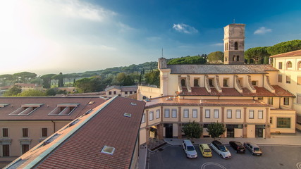 Church of the Capuchins of Albano Laziale illuminated by the sun timelapse in a summer day