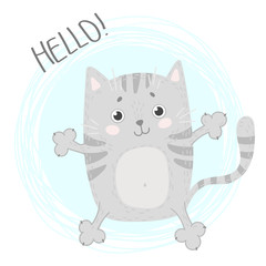 Cute card with cat. Illustration with lettering Hello.