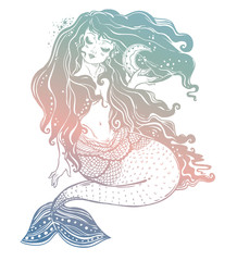 Feminine mermaid girl with fairytale hair and moon