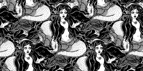 Ocean mermaid girl long hair seamless pattern.
