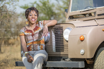 Safari in Africa with a vintage Land Rover.