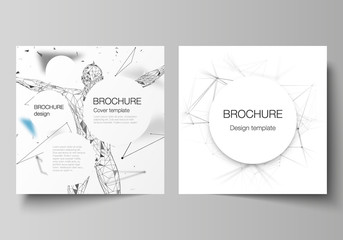 The vector layout of two square format covers design templates for brochure, flyer, magazine. Technology, science, medical concept. Molecule structure, connecting lines and dots. Futuristic background