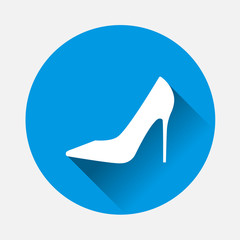 Vector icon of a shoe vector illustration on blue background. Flat image women's high-heeled shoes with long shadow. Layers grouped for easy editing illustration. For your design.