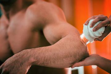 Cryo massage. Elbow Pain