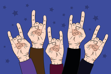 people raise rock hands up in concert with on purple color background. Vector illustration