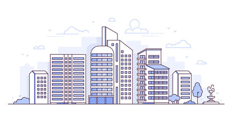 Modern city - thin line design style vector illustration
