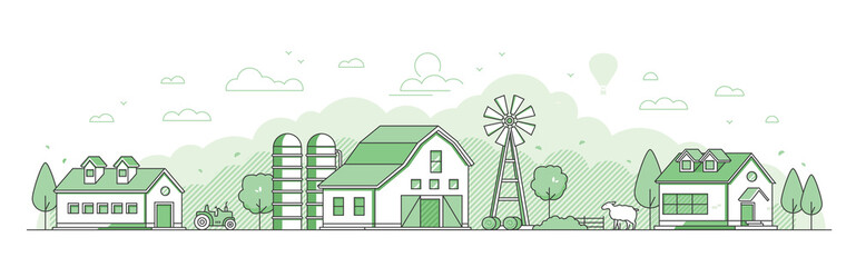 Country landscape - thin line design style vector illustration