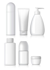 Set of Realistic cosmetic bottle with black lid