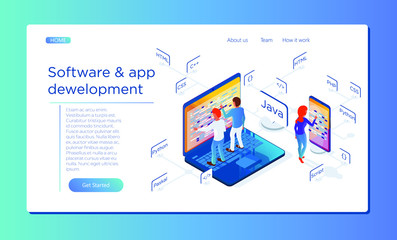 Development of software and mobile applications. Site layout. Different specialists are working on the creation of the product. Illustration in isometric 3d