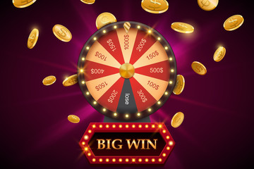 Wheel of fortune with big win banner, bright casino background with falling coins, vector illustration