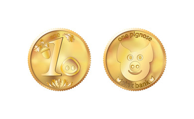 Golden coin one pig nose. Heads and tails for decoration and design. New year 2019 oink bank with the image piglet. Vector illustration in concept of save money or open a bank deposit
