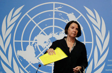 Marchi-Uhel head of the IIIM attends a news conference on Syria crimes in Geneva