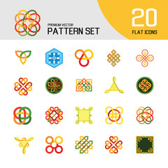 Pattern Icon Set. Hexagon Infinite Traditional Knot Chinese Amulet Round Creative Square Pattern Eternal Knot Decorative Element Auspicious Symbol Endless Knot