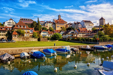 Wall Mural - Picturesque medieval Old Town of Murten on Lake Morat, Switzerland