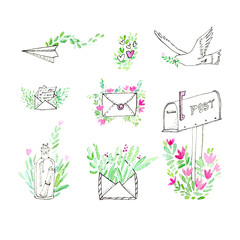 Pattern of a envelope, airplane, mailbox,dove, letter and floral.Sketch.Watercolor hand drawn illustration.White background.