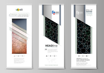 Roll up banner stands, flat design templates, corporate vertical vector flyers, flag layouts. Chemistry pattern, molecular texture, polygonal molecule structure, cell. Microbiology concept.