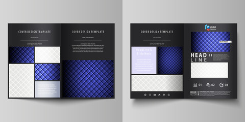 Business templates for bi fold brochure, flyer. Cover design template, abstract vector layout in A4 size. Shiny fabric, rippled texture, white and blue color silk, colorful vintage style background.
